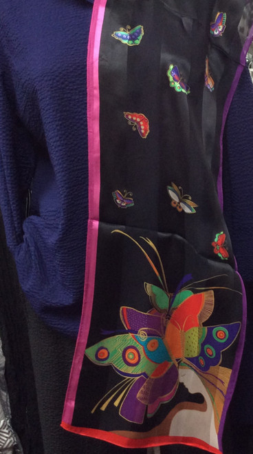 Laurel Burch Butterfly Silk Scarf at Bijou's Boutique.  Authentic design.  Oblong shape. Beautiful brilliant colors.