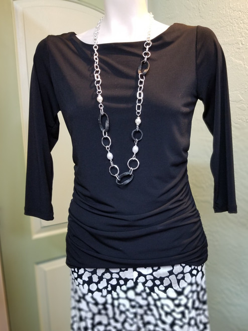 Charlie B Black Top at Bijou's Boutique.  Fitted top with Ruched side detail and    3/4 length sleeves.