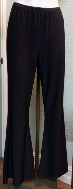 Compli K Black Bell Bottom Pant at Bijou's Boutique.   Narrow leg to bell bottom.  Elastic   waist.  Great travel material.  Polyester/Spandex blend.