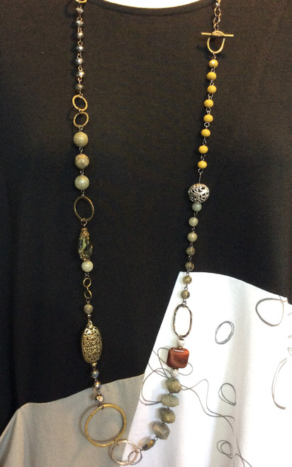 Lost and Found Long/Short Necklace at Bijou's Boutique.  Mix of metals, crystals and    gemstones.  Toggle closure so can be worn either long or doubled up and short.