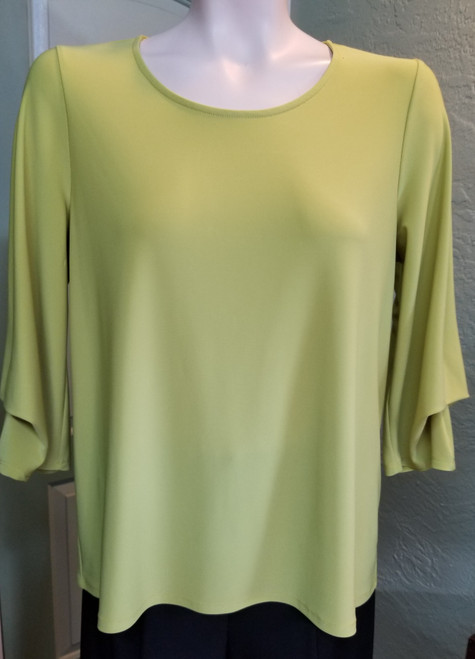 Chalet Chartreuse Top at Bijou's Boutique. Multiple tuck/drape details on 3/4 sleeves.  Polyester/Spandex blend. Made in the USA.