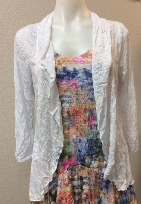 Carine White Jacket at Bijou's Boutique. Lightweight with 3/4 sleeves. Perfect for all your Spring and  Summer dresses. Polyester/Rayon blend.