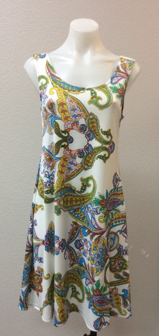 Fashque A-Line Sundress at Bijou's Boutique. Easy to wear sundress with round neckline, wide straps   and square back. Polyester/Spandex blend.  Made in the USA.