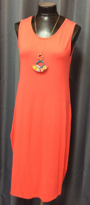 Papa Tulip Dress at Bijou's Boutique.  Beautiful Tangerine color sleeveless dress.  Bright fun color that is light   and comfortable to wear.  95% Bamboo/5% Spandex.