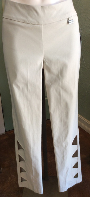Michael Tyler Pull On Pant - Sand at Bijou's Boutique. Wide waistband. Cutout detail on the side of   each lower leg. Rayon/Nylon/Spandex blend. Made in Canada.