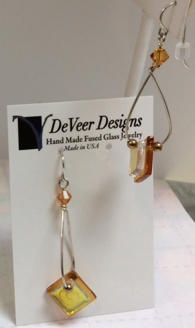 DeVeer Fused Glass Earrings at Bijou's Boutique. Yellow and gold fused glass, crystals  and sterling silver. Handmade in the USA.