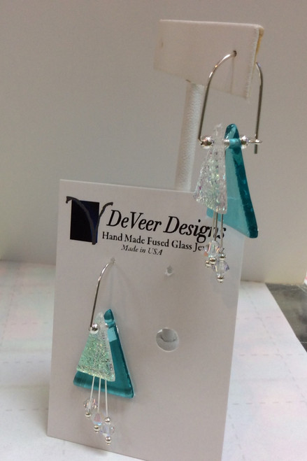 DeVeer Fused Glass Earrings at Bijou's Boutique. Turquoise and White fused glass with   AB crystals and sterling silver. Handmade in the USA.