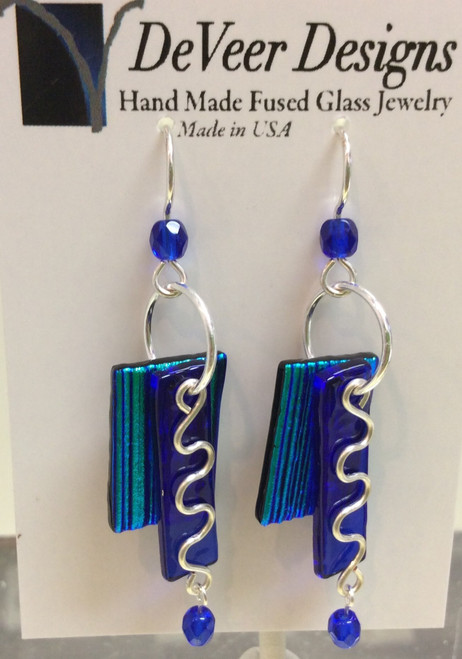 DeVeer Fused Glass Earrings at Bijou's Boutique. Cobalt Blue and Emerald Green   fused glass with crystals and sterling silver. Handmade in the USA.