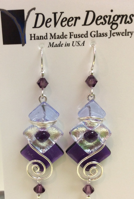DeVeer Fused Glass Earrings at Bijou's Boutique.  Purple and white fused glass with   crystals and Sterling Silver.   Handmade in the USA.