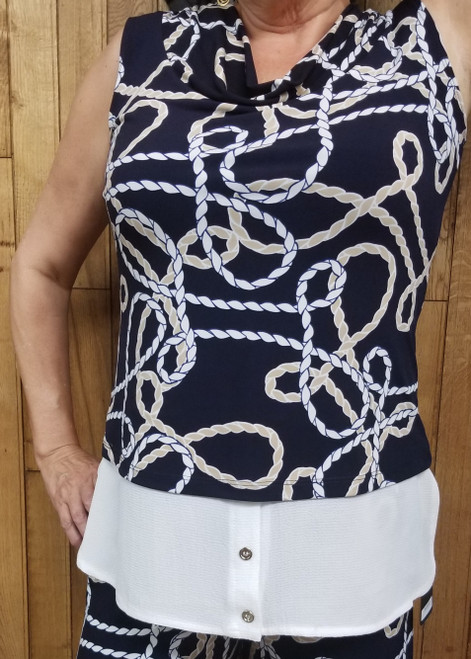 Artex Navy Nautical Sleeveless Top at Bijou's Boutique.  Nautical rope print top with   wide white band at the bottom.  Gold button detail on white band.  Wide loose cowl   neckline.  This top runs small so consider ordering up one size.  95% Polyester/5% Spandex.  Made in Canada.     Also available - matching Artex Navy Nautical Pant.