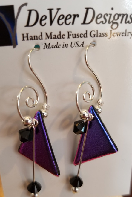 DeVeer Fused Glass Earrings at Bijou's Boutique. Iridescent purple fused glass, crystals  and sterling silver. Handmade in the USA.