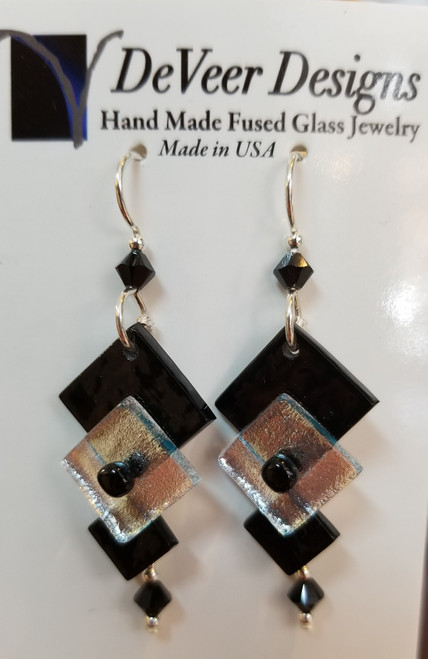 DeVeer Fused Glass Earrings at Bijou's Boutique. Black and White fused glass, crystals  and sterling silver. Handmade in the USA.