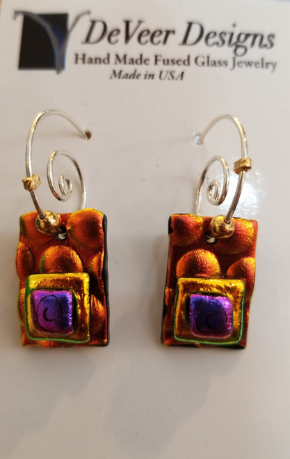 DeVeer Fused Glass Earrings at Bijou's Boutique. Orange and Purple fused glass, crystals  and sterling silver. Handmade in the USA.