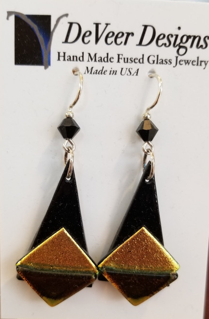 DeVeer Fused Glass Earrings at Bijou's Boutique. Black and Goldfused glass, crystalsand  sterling silver. Handmade in the USA.