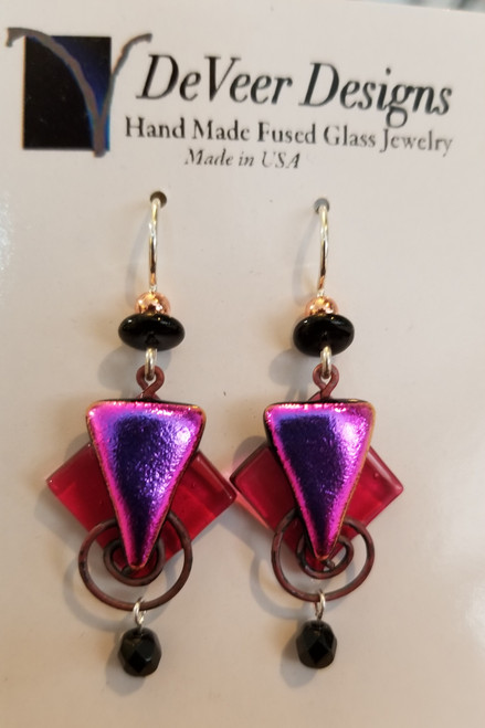 DeVeer Fused Glass Earrings at Bijou's Boutique. Iridescent Pinks fused glass, crystals,  copper and sterling silver. Handmade in the USA.