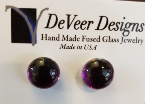 DeVeer Fused Glass Post Earrings at Bijou's Boutique. Purple fused glassand sterling silver.  Handmade in the USA.
