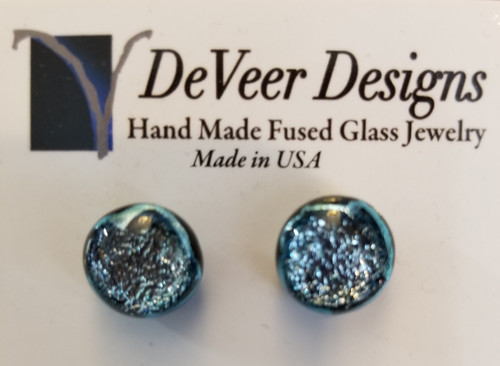 DeVeer Fused Glass Post Earrings at Bijou's Boutique. Silver blue fused glass and sterling  silver. Handmade in the USA.