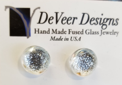 DeVeer Fused Glass Post Earrings at Bijou's Boutique. Crystal fused glass and sterling  silver. Handmade in the USA.