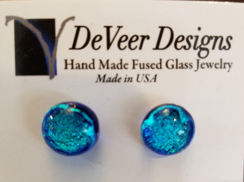 DeVeer Fused Glass Post Earrings at Bijou's Boutique. Electric Blue fusedglass and  sterling silver. Handmade in the USA.