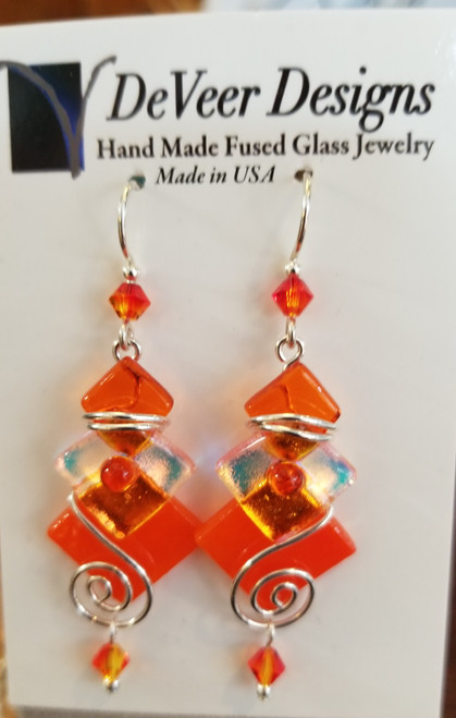 DeVeer Fused Glass Earrings at Bijou's Boutique. Orange fused glass, crystals and  sterling silver. Handmade in the USA.