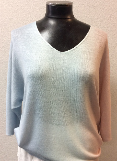 Charlie B Pastel Summer Sweater at Bijou's Boutique. Lightweight sweater in beautiful   pale pastels of blue, green and pink. V-neckline with Raglan three-quarter length sleeve.  Very soft.55% Modal/45% Acrylic.