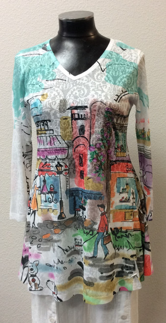 Katina Marie City Print Tunic at Bijou's Boutique. V-neckline. Great summer print. Perfect   to pair with leggings or summer linen pants. Soft and light. Poly/Rayon blend.  Made in the USA.