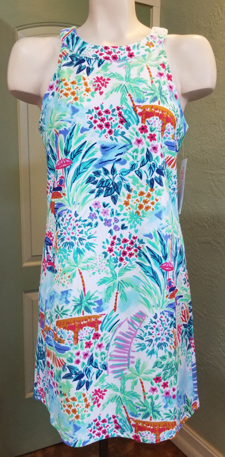 Aryeh Floral Sleeveless Shift Dress at Bijou's Boutique. Beautiful print of varied florals and  colors. Yoke neckline with double button at the back. Comfortable summer dress!  Created with UPF 50+ yarn.Provides excellent sun protection with an UPF 50+ rating.  80% Nylon/20% Spandex.