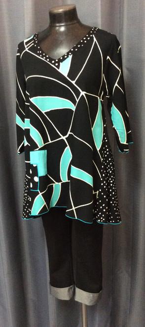 Iguana Black & Turquoise Tunic at Bijou's Boutique. Three-quarter length sleeve, V-neckline. Fun geometic print.   100% Batik Rayon.
