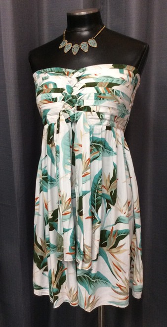 Pineapple Short Dress at Bijou's Boutique. Bird of Paradise print.  Strapless with layered bodice with tie and elastic back. Soft and  light - makes for the perfect summer dress. 100% Rayon.