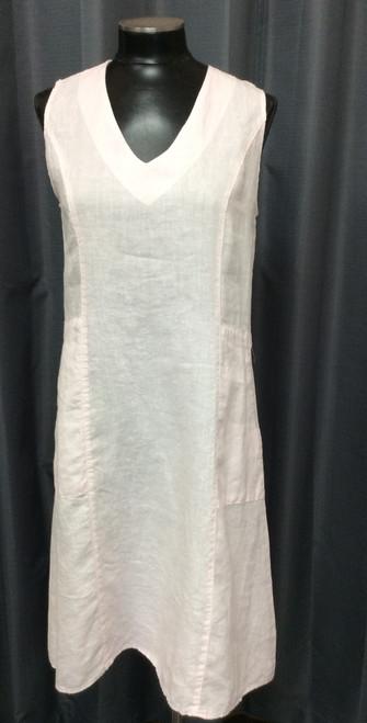 Mosaic Light Pink Dress at Bijou's Boutique. V-neckline. Side pockets.  100% Linen.