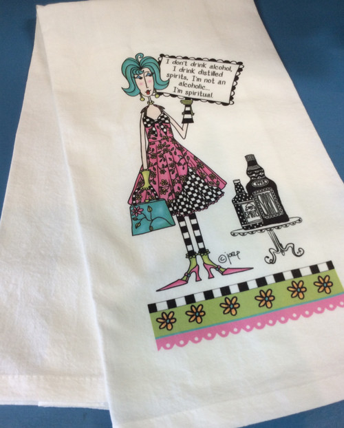 """CJ Bella Hand Towel - I Don't Drink at Bijou's Boutique.  Generously sized 27"""" x 27"""" flour sackthat is super absorbent, lint free,  washer and dryer safe. Comeswith a corner loop for convenient storage  or hang drying. 100% Pre-shrunk Cotton."""
