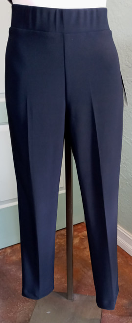 Michael Tyler Black Pull-On Pant at Bijou's Boutique. Straight leg, ankle length pant   with a small slit on back of lower leg. 95% Polyester/5% Elastane.  Made in Canada.