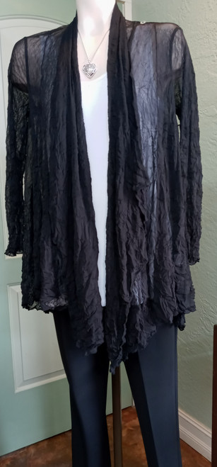 Liv by Habitat Black Sheer Jacket/Top at Bijou's Boutique. Long sleeve. One button at   left shoulder to convert top into a drape front jacket. 100% Polyester.