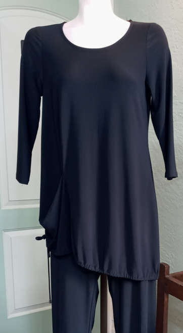 Michael Tyler Black Tunic at Bijou's Boutique. Rounded neckline. Angled  drawstringhemline that causes a small draping accent.