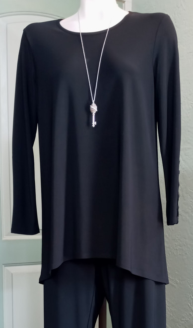 JJ Black Tunic at Bijou's Boutique. Fitted long sleeves with multiple button detail.   Hi/Low hemline. 95% Polyester/5% Spandex.