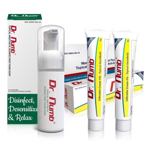 COMBO Pack of 2x Dr. Num® 4% Lidocaine Cream 30g & Dr. Numb® Foam Soap 4%  1.7oz