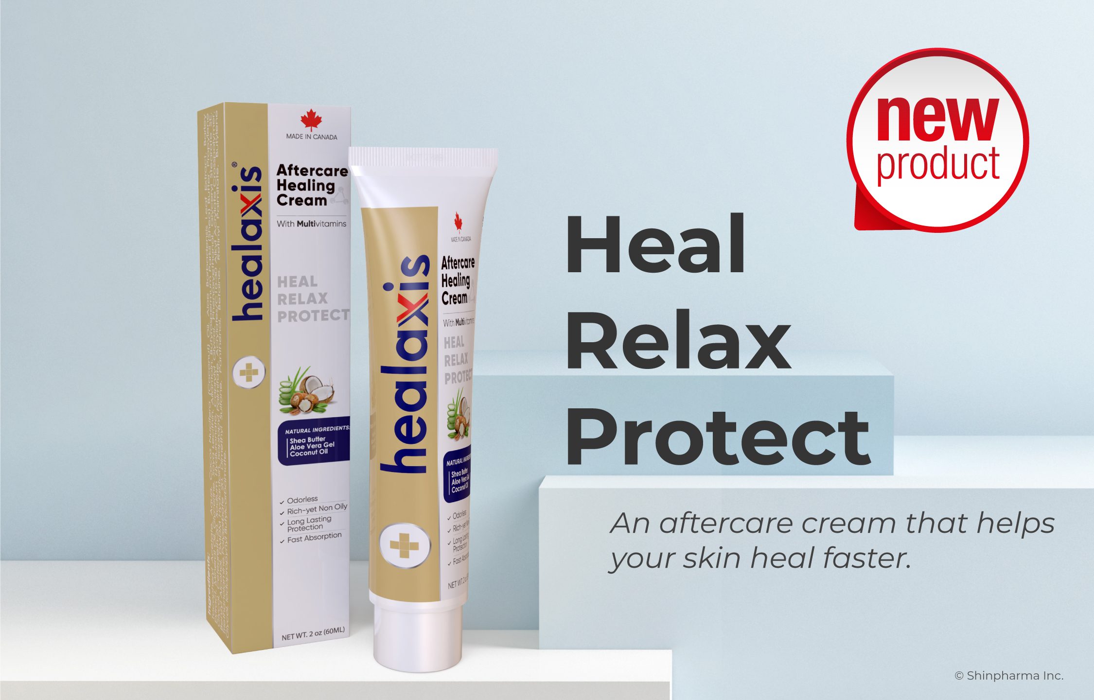 Shinpharma Inc. with a Flagship Product of Dr. Numb® Introduces Its Healing Formula: Healaxis®  Aftercare Healing Cream