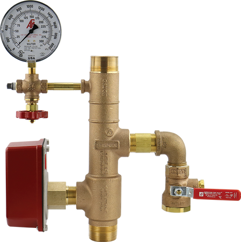 AGF bronze 13R residential riser with pressure gauge, 3-way valve, and threaded connections