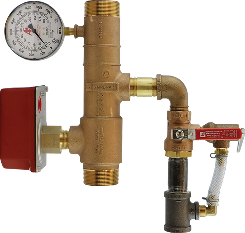 AGF bronze NFPA 13D residential riser manifold with pressure relief and threaded connections