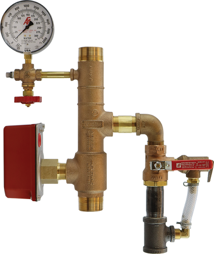 AGF bronze riser with pressure gauge, 3-way valve, and pressure relief valve, treaded connections