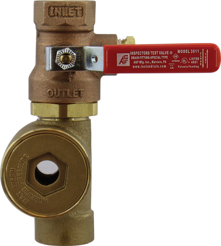 Model 3011SG Inspector's test ball valve with attached sight glass.