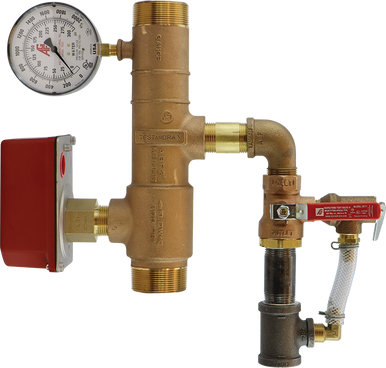 AGF bronze 13D residential riser with pressure relief and threaded connections