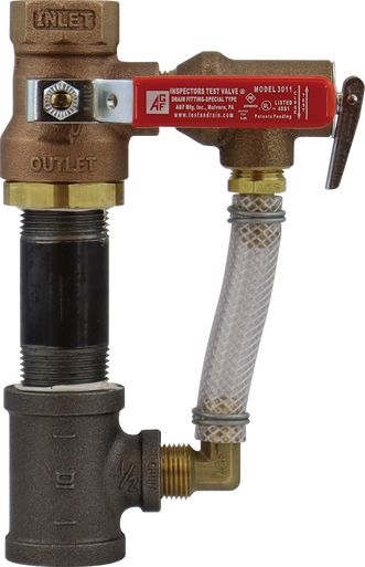 Model 3011A inspector's test ball valve with attached pressure relief valve and trim.