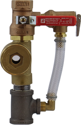 Model 3011ASG inspector's test ball valve with attached sight glass and pressure relief trim.
