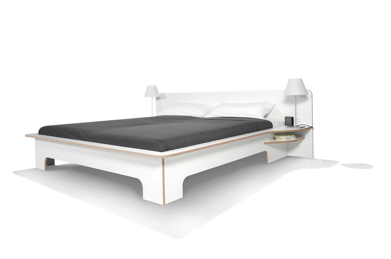 Plane Double Modern Bed in White