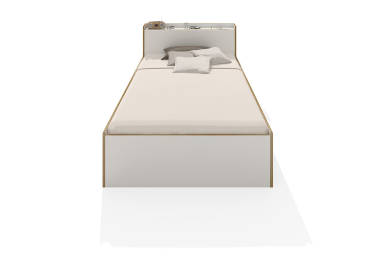 Nook Single Modern Bed in white