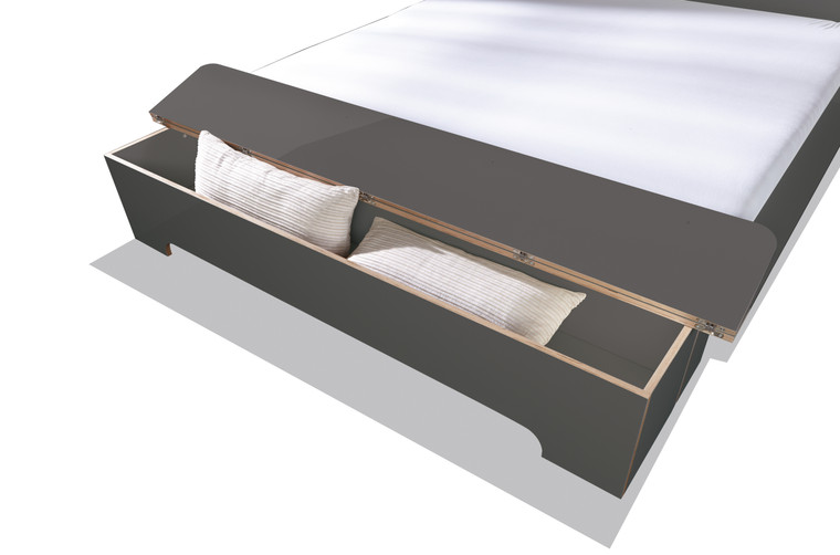 Plane Double Bed Storage Box in Anthracite
