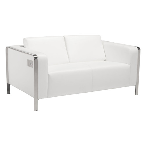 """Zuo Modern 100677 Thor 56"""" Long Stainless Steel Frame Faux Leather Upholstered Loveseat with USB Ports"""
