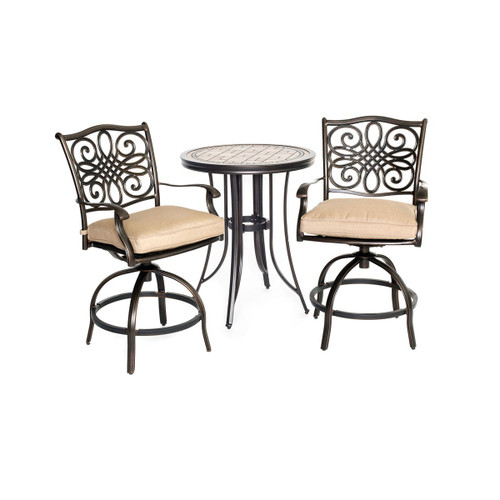Hanover MONDN3PCSW-BR Monaco 3-Piece Aluminum Framed Outdoor Bistro Set with Round Stone Tabletop and Swivel Rocking Chairs