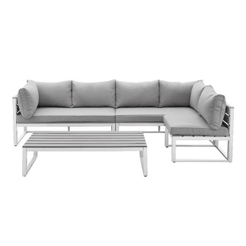 Delacora BDAW4CSNGY Four Piece Aluminum Framed Wood Conversation Set with Cushions